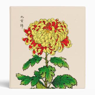 Vintage Japanese Chrysanthemum. Mustard Yellow 3 Ring Binder