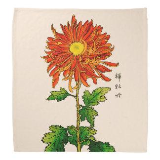 Vintage Japanese Chrysanthemum. Orange and Gold Bandana