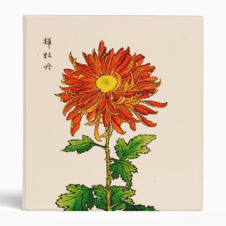 Vintage Japanese Chrysanthemum. Orange and Gold Vinyl Binders