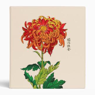 Vintage Japanese Chrysanthemum. Rust and Orange Binder
