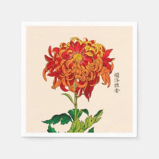 Vintage Japanese Chrysanthemum. Rust and Orange Napkin
