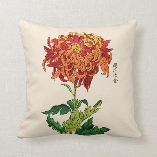 Vintage Japanese Chrysanthemum. Rust and Orange Throw Pillow