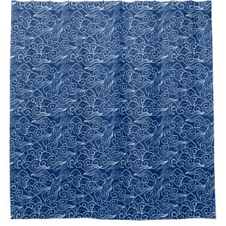 Vintage Japanese Clouds, Cobalt Blue and White