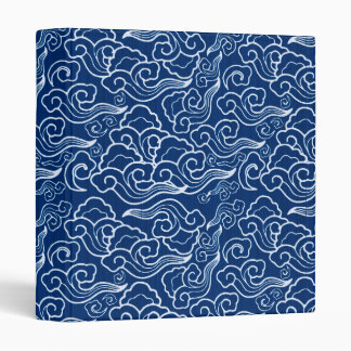 Vintage Japanese Clouds, Cobalt Blue and White Binder
