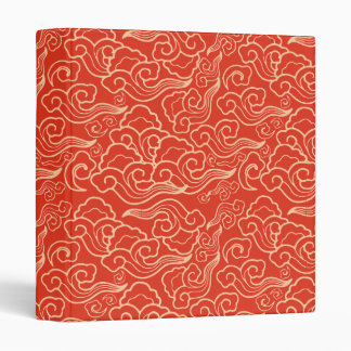 Vintage Japanese Clouds, Coral Orange 3 Ring Binders