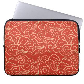 Vintage Japanese Clouds, Coral Orange Laptop Sleeve