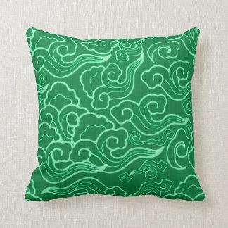 Vintage Japanese Clouds, Jade Green Throw Pillow