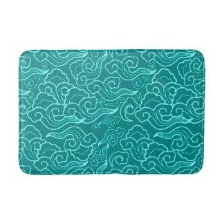 Vintage Japanese Clouds, Turquoise and Aqua Bath Mat