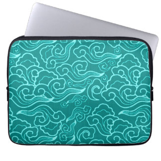 Vintage Japanese Clouds, Turquoise and Aqua Laptop Computer Sleeve