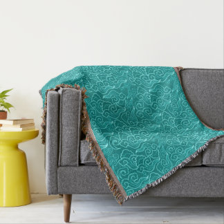 Vintage Japanese Clouds, Turquoise and Aqua Throw Blanket