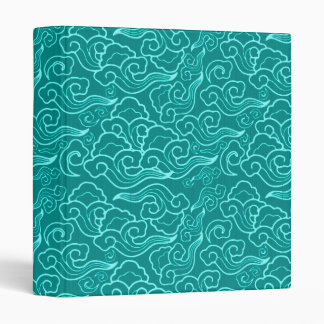 Vintage Japanese Clouds, Turquoise and Aqua Vinyl Binder