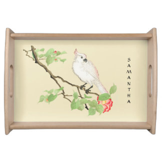 Vintage Japanese Cockatoo Camellia Serving Tray