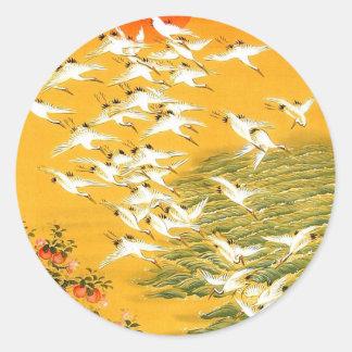 Vintage Japanese Cranes at Sunset Classic Round Sticker