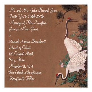 Vintage Japanese Cranes Wedding Invitation  Cranes