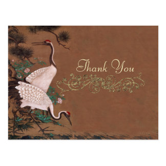Vintage Japanese Cranes Wedding Thank You Postcard