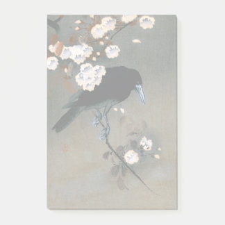 Vintage Japanese Crow and Blossom Woodblock Print Post-it Notes