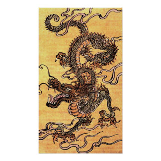 Vintage Japanese Dragon Tapestry Poster