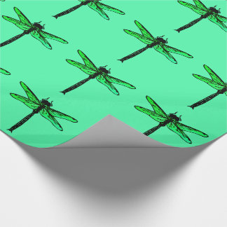 Vintage Japanese Dragonfly, emerald green Wrapping Paper