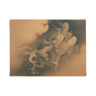 Vintage Japanese Dragons In The Clouds Doormat