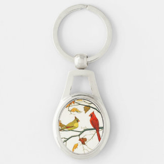 Vintage Japanese drawing, Cardinals on a branch Keychain