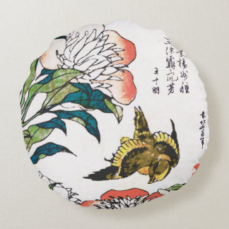 Vintage Japanese drawing, Peonies and Sparrow Round Pillow