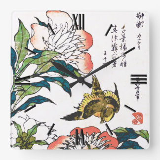 Vintage Japanese drawing, Peonies and Sparrow Square Wall Clock