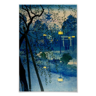 Vintage Japanese Evening Woodblock Art Ukiyo-E Poster
