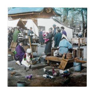 Vintage Japanese Families in the Market  Old Japan Ceramic Tile