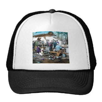 Vintage Japanese Families in the Market  Old Japan Trucker Hat