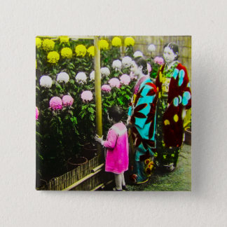 Vintage Japanese Family at Chrysanthemum Show 2 Inch Square Button