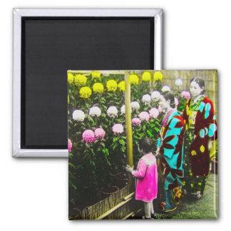 Vintage Japanese Family at Chrysanthemum Show Magnet