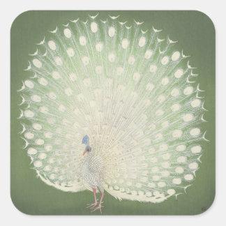 Vintage Japanese Fine Art | Peacock Square Sticker