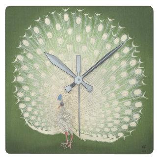 Vintage Japanese Fine Art   Peacock Square Wall Clock