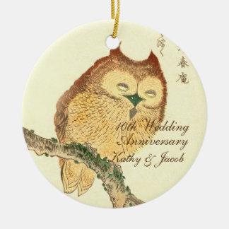 Vintage Japanese Fine Art Print, Owl | Anniversary Ceramic Ornament