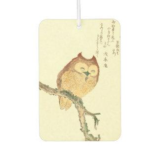 Vintage Japanese Fine Art Print | Owl on a Branch Car Air Freshener