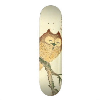 Vintage Japanese Fine Art Print | Owl on a Branch Skateboard Decks