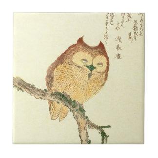 Vintage Japanese Fine Art Print | Owl on a Branch Tile