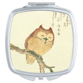 Vintage Japanese Fine Art Print | Owl on a Branch Travel Mirror