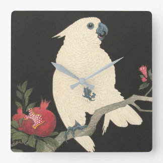 Vintage Japanese Fine Art | White Cockatoo Square Wall Clock