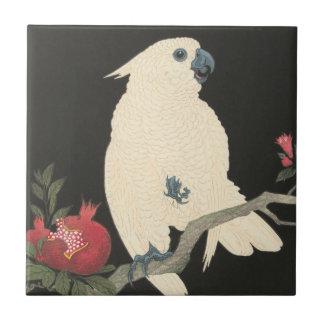 Vintage Japanese Fine Art | White Cockatoo Tile
