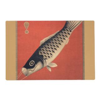Vintage Japanese fish laminated placemat