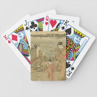 Vintage Japanese Fishing Woodblock Print Bicycle Playing Cards
