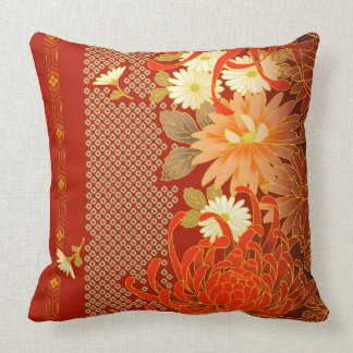 Vintage Japanese Floral Design Throw Pillow