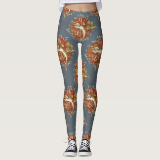 Vintage Japanese Flying Fish with Bamboo Leaves Leggings