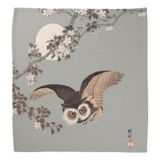 Vintage Japanese Flying Night Owl Art Print Bandana