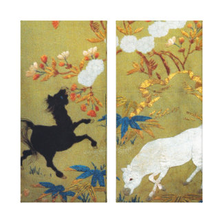 Vintage Japanese Foal and Cherry Blossoms Canvas Print