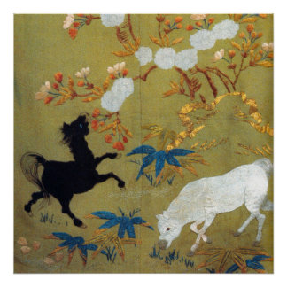 Vintage Japanese Foal and Cherry Blossoms Poster
