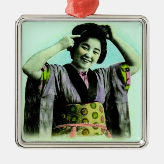 Vintage Japanese Geisha Adjusting Her Hair Silver-Colored Square Ornament