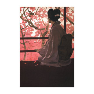 Vintage Japanese Geisha and Cherry Blossoms Canvas Print