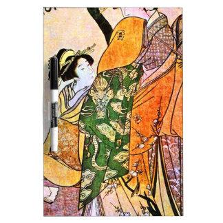 Vintage Japanese Geisha Artwork Dry Erase Board